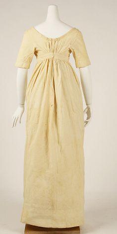 Dress (Underdress) Back, c. 1810, American, cotton