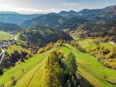 Green hils and high mountains in alpine Slovenia. Drone Photography, Slovenia, Fields, Beautiful Places, Mountains, Explore, World, Green, Nature