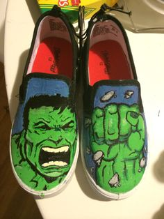 Hulk shoes I painted. They aren't really vans, but still. #diy #vans #marvel