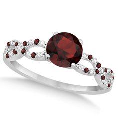 Infinity Diamond and Garnet Engagement Ring 14K White Gold (1.05ct) by Allurez on Etsy https://www.etsy.com/listing/198492439/infinity-diamond-and-garnet-engagement