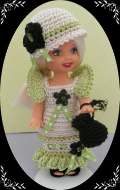 "Crochet Doll Clothes Wasabi Black Flower Outfit for 4 ½"" Kelly & same sized doll"