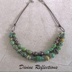Green Paper Beads Necklace by Divine Reflections