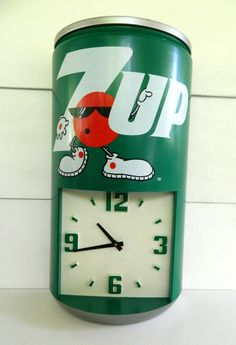 Vintage 7Up Soda Can Clock Plastic by Rustage on Etsy, $77.00
