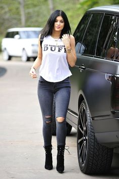 White top, skinny jeans and boots. The youngest of the Kardashian sisters, and one of the hottest celebrities, Kylie Jenner. Look out Kim. Expect Instagram selfies, cute outfits, dope style, fashion, make up and hairstyles. Amazing body, beautiful clothes.