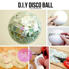 Using old cd's, you can make a disco ball! Cut up the CD into different size and shape pieces and glue the pieces down on a foam ball and there you go! A DIY disco ball! New Year's Crafts, Cute Crafts, Diy And Crafts, Crafts For Kids, Recycled Cds, Disco Party, Disco Theme, Nye Party, Party Time
