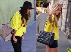 Look do Dia = Blusa Amarela + Calça ou Shorts Preto
