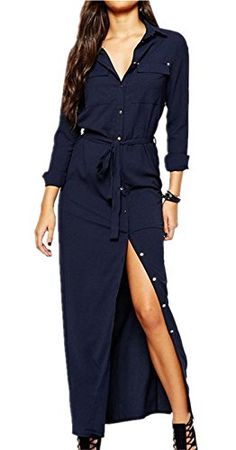 8bc4ee6a0dd Take it back to the classics by donning this timeless shirt dress. It  features patched front pockets, long sleeves, tie waist and longline style.
