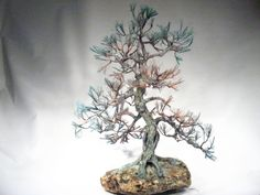 Copper wire tree - Bonsai style  - Art sculpture - natural rock - recycled material - Wabi sabi - Pine tree