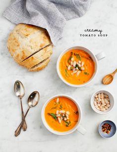 Creamy White Bean & Tomato Soup (vegan)