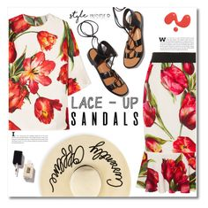 """""""Lace-Up Sandals"""" by chocolate-addicted-angel ❤ liked on Polyvore featuring Dolce&Gabbana, Eugenia Kim, Rosetta Getty, contestentry, 2016, laceupsandals and PVStyleInsiderContest"""