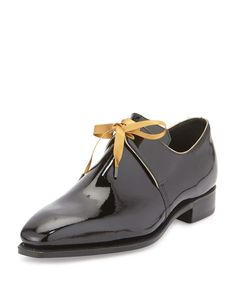 Arca Patent Leather Shoe with Gold Piping