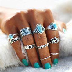 Turquoise Rose Ring Set 10 pcs