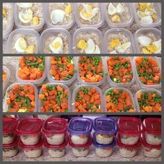 MEAL PREPPING FOR HOMEMADE DOG FOOD. After finding a large chunks of black moldy dog food in my dogs food dish ($60 Nutro nuggets). I decided to make my pooches food. I read tons of blogs for it and against it...my conclusion, there is nothing more unnatural than feeding any animal kibble with god knows what in it. What we have here is brown rice, chicken breast, carrots, sweet potato, green beans, peas, 1/2 egg white, 1/4 egg yolk. Frozen and ready for the week....