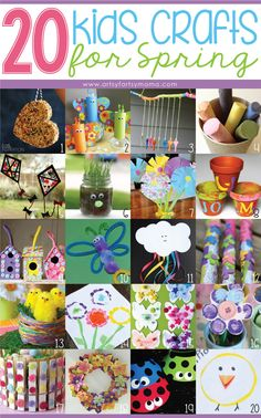 A wonderful list of 50 different awesome, quick, and easy kids craft ideas for spring. Including baby birds, rainbows, flowers, umbrella, and more!!