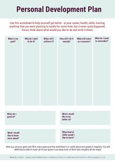 Personal Development Plan - Free worksheet from www.will-work-for-coffee.blogspot.co.uk