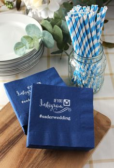 Instagram Hashtag cocktail napkins are a fun way to celebrate the bride and groom's wedding day Place napkins at the reception bar, beverage station, hors d'oeuvres table, buffet table or cake table. Not only will they compliment your wedding reception decor but they are also a reminder for everyone to take lots of pictures of your wedding reception and share them on Instagram. These napkins can be ordered at…