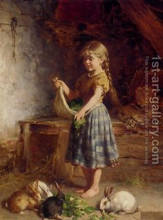 Beautiful art Oil painting heinrich hirt - Young girl feeding the rabbits canvas Old Paintings, Paintings I Love, Beautiful Paintings, Vintage Paintings, Illustration Inspiration, Vintage Illustration, Lapin Art, Images D'art, Art Texture
