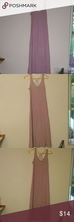 Mauve and white striped Anthropology maxi dress Excellent condition. Mauve and white striped maxi dress with racerback. Splendid brand. Super cute casual dress. Size small. Anthropologie Dresses Maxi