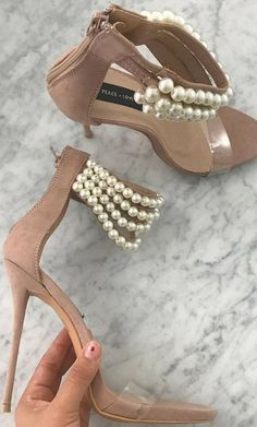 Taupe Sandal with Pearl Ankle Strap