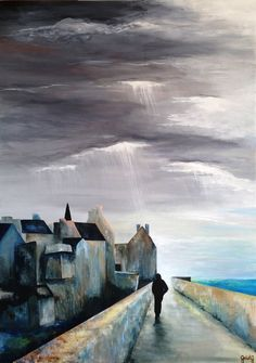 Remparts (Peinture),  50x70x2 cm par GaïdG Entre terre et mer, entre ombre et lumière, entre logique et émotion, entre réalités et rêves…