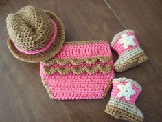 Cowgirl 4 Piece Set Baby Hat Boots Diaper Cover, Brown Pink, Cowboy, Newborn - 3…