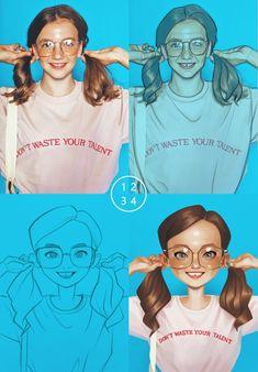 ArtStation - Girl, by Miji-lee Cartoon Sketches, Cartoon Styles, Art Sketches, Character Drawing, Character Illustration, Digital Illustration, Animation Character, Character Sketches, Art Illustrations