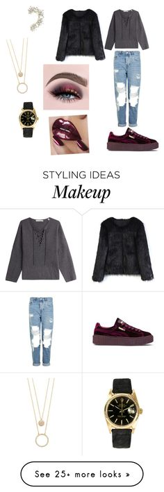 """""""Glamorous mall shopping look"""" by trenecejones on Polyvore featuring Vince, Topshop, Puma, Rolex, BCBGMAXAZRIA, Chicwish and Kate Spade"""