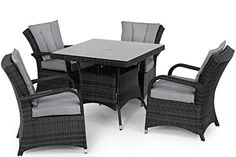 San Diego Rattan Garden Furniture Houston Grey 4 Seater Square Table Set