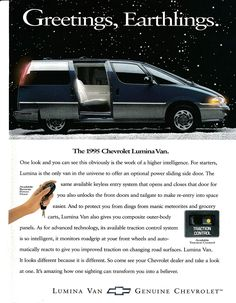 1994 Chevrolet Lummina Van Original Magazine Ad : Everything Else Chevrolet Van, Chevrolet Lumina, Chevy Van, Corvette, Convertible, 1990s Cars, Chevy Models, Nova, Vans Original