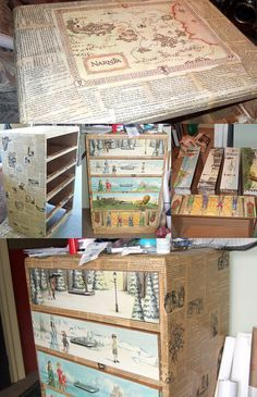 Narnia decoupaged dresser! How cool is this?! I'd totally do it!