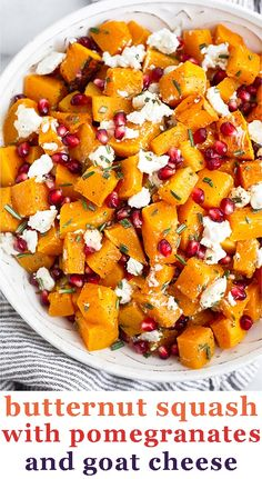 Just 7 simple ingredients to make this flavor-packed oven roasted butternut squash with goat cheese and pomegranates. Easy to make and an absolutely delicious side dish that goes with any entree, holidays or not!