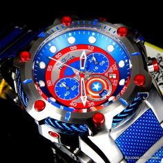 Invicta Marvel Captain America Bolt Steel Limited Ed Chronograph Watch New Stylish Watches, Luxury Watches For Men, Cool Watches, Patek Philippe, Relogio Invicta Pro Diver, Devon, Rolex, Cartier, Omega