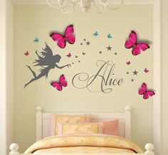 Personalised Name, Fairy, Wall Art Decal Sticker & Personalised Butterflies… Girl Room, Girls Bedroom, Bedroom Decor, Wall Painting Decor, Wall Art, Butterfly Room, Princess Room, Kids Decor, Home Decor