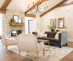 Fixer Upper Season 4 Episode 1  i love the stone on the fireplace?  this or tumbled travertine..