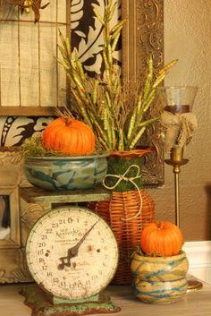 vintage scale with fall decor Autumn Decorating, Pumpkin Decorating, Decorating Ideas, Primitive Fall Decorating, Pumpkin Table Decorations, Centerpiece Decorations, Table Centerpieces, Fall Kitchen Decor, Kitchen Interior