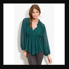 HEED Shirred Peasant Blouse This top is awesome with black denim or leather leggings. It can also be paired with dress pants for work. It is fairly sheer so you may need a camisole underneath (depending on how adventurous your feeling ) Anthropologie Tops Blouses