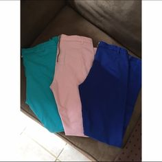 3 pairs of color jeans Like new / light blue&pink pants are size 6 /dark blue pants are size 4 H&M Pants Skinny