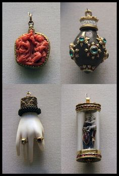 Amuletic pendants Top left: Two sided carved coral with the Annunciation, Italian Candy Jewelry, Jewelry Tools, Enamel Jewelry, Stone Jewelry, Charm Jewelry, Antique Jewelry, Vintage Jewelry, Jewelry Design, Jewelry Making