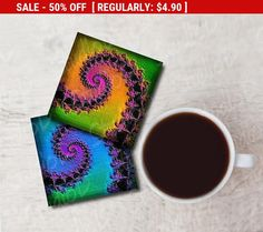 50% SALE Printable coasters Fractal art pocket mirrors DIY craft projects mini cards digital collage sheet instant download by StudioDprint