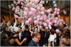 A New Years Eve Wedding balloon drop!  Photo by: Dave Robbins Photography.