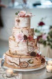 Country Wedding Cakes, Floral Wedding Cakes, Fall Wedding Cakes, Wedding Cake Rustic, Rustic Cake, Wedding Cakes With Flowers, Floral Cake, Beautiful Wedding Cakes, Wedding Cake Designs
