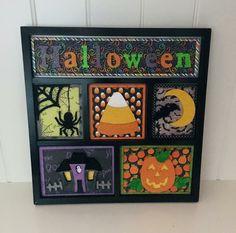 Halloween shadow box insert set from Foundations Decor. Halloween Shadow Box, Halloween Rocks, Halloween Cards, Wooden Art, Wooden Crafts, Paper Crafts, Diy Shadow Box, Christmas Blocks, Halloween Scrapbook