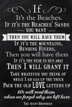 If It's the Beaches by The Avett Brothers