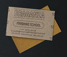 This sandpaper based card is made for a finishing school in India.