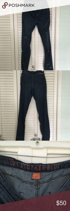 Christopher blue destroyed denim jeans Ladies Christopher Blue jeans . Customed to have fashionable destroyed rips/details. Color Blue jean medium wash . Size 10. Perfect condition! Christopher Blue Jeans