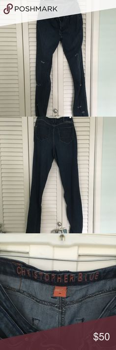 Christopher blue destroyed denim jeans Ladies Christopher Blue jeans . Customed to have fashionable destroyed rips/details. Color Blue jean medium wash . Size 10. Perfect condition! Christopher Blue Jeans