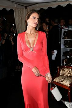 Gorgeous Alessandra Ambrosio in Roberto Cavalli coral dress at the Roberto Cavalli's Yacht Party.