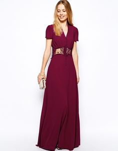 Image 4 ofJarlo Kelly Maxi Dress With Cap Sleeve and Lace Insert