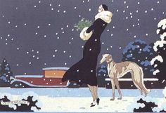 Woman and Greyhound in Winter by Meschini