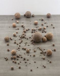 "tumbleword:    jaume-pinya:  LI GANG    ""Beads"" 2012  Wooden spheres, shaped from the connecting points of a dead tree of Yunnan Province  397 pcs, ø 0.5 - 100 cm"